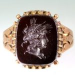 Antique Victorian 1890s Etruscan 12ct Onyx Cameo 14k Gold BIG Ring