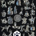 25  ANTIQUE SILVER PLATE DOG AND CAT THEME CHARMS  FREE SHIP