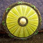 Antique Enamel Guilloche Button Green on 930 Sterling Silver Hallmarked  yqz