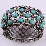 Enthnic Antique Tibet Silver Turquoise Howlite Pink rhinestone Punk Bracelet