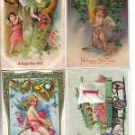 4 Angels on  Years Greetings Antique Postcards (Lot #B131)