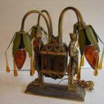 Antique RARE FrankArt ()  Art () ART  DECO Lamp. Amber Tear Drop Crystals