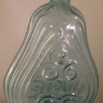 Antique Historical Aqua Glass Flask 7 1/4″ with Stars & Scroll