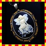 Big Cameo Pendant Necklace Antique Style Lovely Fairy Top Quality 32″ C175