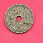 BELGIUM KM53 1905 VFNICE OLD 10 CENTIMES ANTIQUE COIN