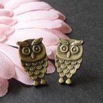 2pcs pcs antique bronze owl earrings charm N021
