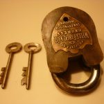 Working Antique Wells, Fargo & Co. Express Crab Padlock with Two Skeleton Keys