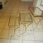 Mid Century Brass/Glass Stacking Tables; Ball Feet; Estate Sale Find Chic
