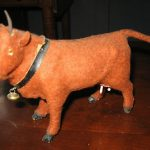 ANTIQUE FELT COW GLASS EYES WITH ORIGINAL COLLAR AND BELL  FIGURINE