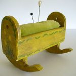 """Antique/Vintage/Collectible """"Cradle Pin Cushion"""" Wood/Painted Mustard w/Flowers"""