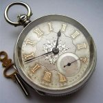 GENTS 1893 ANTIQUE SILVER DIAL FUSEE CHAIN DRIVE POCKET WATCH