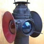 antique RAILROAD SWITCH LAMP  ADLAKE  old RR HAND LANTERN  16 1/2″ tall