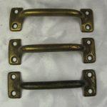 Vtg antique lot 3 brass cabinet handle drawer pulls doorknob furniture hardware