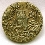 Antique Brass Picture Button Owl on a Branch with Flowers Design