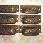 lot 6 ORNATE Antique cast iron drawer file cabinet dresser pulls knobs EASTLAKE