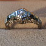 Antique Art Deco 18Kt White Gold Diamond Ring Floral Filigree