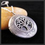 Oxidized Antique Silver Tone Tree Of Life Picture Locket Pendant Necklace