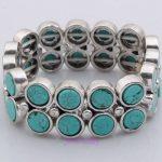 LITTLE ROUND TIBEST SILVER TURQUOISE layer women fashion antique spring bracelet
