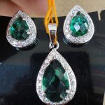 Simulated CZ Diamond Emerald Pendant Earring Set Platinum Finish Antique 0A 54