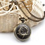 176%  FREE SHIP Antique peony Pocket Watch Necklace