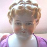 "BEAUTIFUL  ANTIQUE CHINA HEAD BLONDE CURLS 2 HOLES PLATE GERMANY 22"" TALL DOLL"