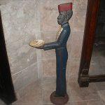 VERY RARE  ANTIQUE ORIGINAL 38″ BLACK AMERICANA CAST IRON BUTLER ASHTRAY STAND