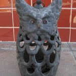 Vtg 50's MID CENTURY CAST IRON OWL FIGURINE HANGING LAMP LANTERN DANISH EAMES ER