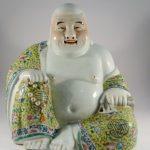 Large  Antique Chinese Famille Rose Porcelain Buddha, Yellow Kesa, Signed